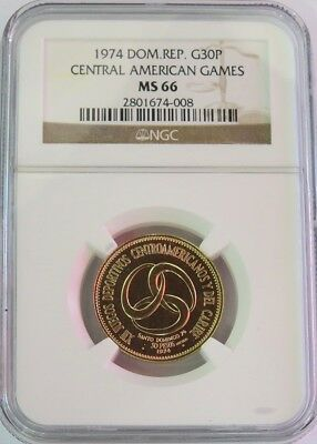 1974 Gold Dominican Republic 30 Pesos Central American Games Ngc Mint State 66