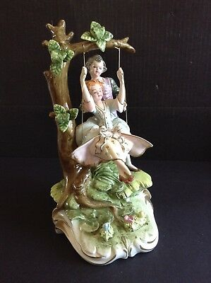 Vintage Italian Capodimonte Boy With Girl on Swing Large Figurine Signed