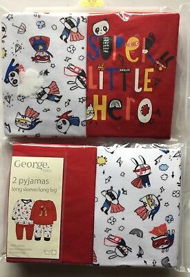 Baby Boy 2 pack Red and White Pyjamas with Super Little Hero Detail