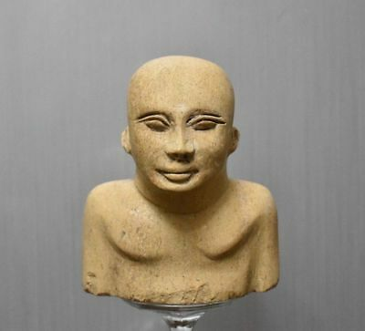 ANCIENT EGYPTIAN EGYPT bust of brown basalt THE PRIEST 1500–300BC