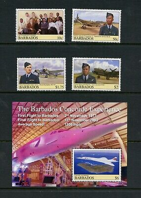 Barbados 2008  #1139-43  aviation Concorde Spitfire etc.    MNH  M874