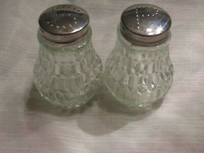 Clear Glass Elongated Honeycomb Pattern Set of Salt & Pepper Shakers