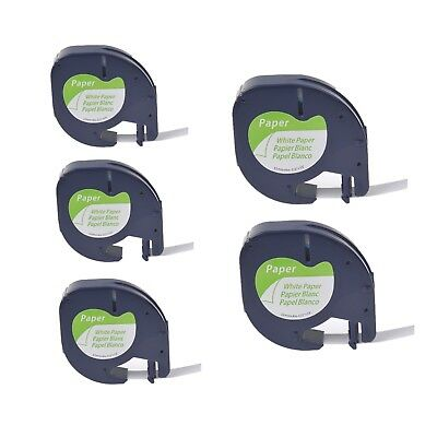 5PK Paper Label Tape for DYMO Letra Tag QX50 LT 91200 Black on White 12MM