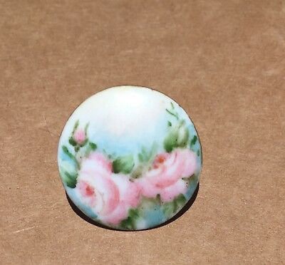 Beautiful Antique Porcelain /china Hand Painted Stud Button~Roses~