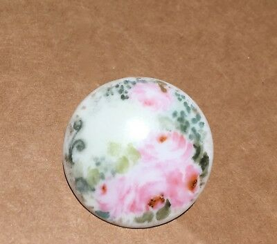 Beautiful Antique Porcelain /china Hand Painted  Button~Roses~Large 1 1/4""