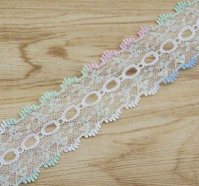 KNITTING LACE / EYELET /  COATHANGER -  5 to 10m x 4cm - 4 COLOUR DOUBLE EDGED