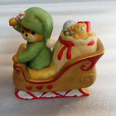 Lucy & Me ~ Driving Santa's Sleigh Elf Santa's Helper Toy Candy Cane ~ Figurine