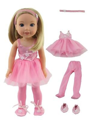 "Pink Ballerina Outfit Fits Wellie Wishers 14.5"" American Girl Clothes"