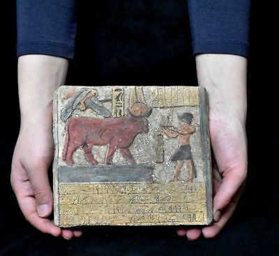 ANCIENT EGYPTIAN EGYPT plaque Hathor as a cow Stela Relief (1500-1100 BC)