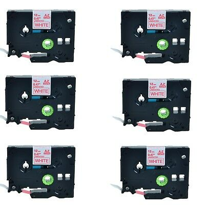 6PK TZ-232 TZe-232 Red on White Label Tape For Brother P-Touch PT-1170S 12mmx8m