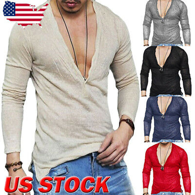 US Men Slim Fit V Neck Long Sleeve Muscle Tee T-shirt Casual Tops Henley Shirts