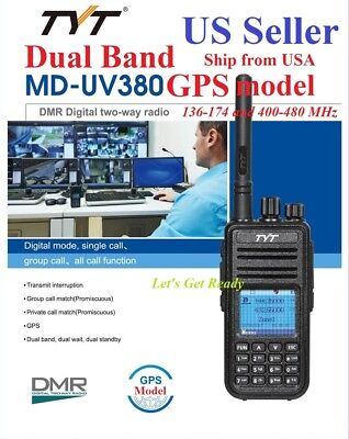 TYT MD-UV380 GPS model Dual Band 144&430MHz DMR Digital/Analog Radio US Seller