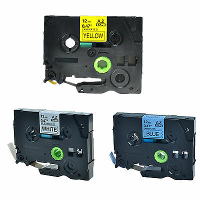 3PK TZ TZe 631 531 231 Label Tape For Brother P-Touch PT-1160 PT-1170 12mm x 8m