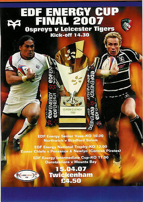 Leicester Tigers v Ospreys EDF Energy Cup Final 15 Apr 2007 RUGBY PROGRAMME
