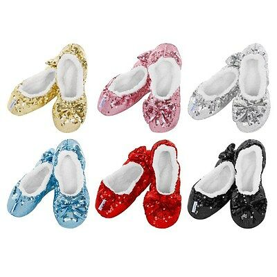SNOOZIES Ladies Bling Ballerina Slippers. Girlie Warm Non-Slip and Cozy-Washable