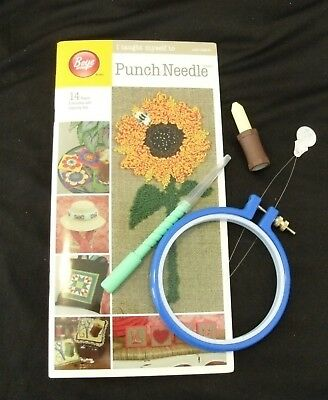 I taught myself to punch needle 14 projects kit book hoop needle & more crafts
