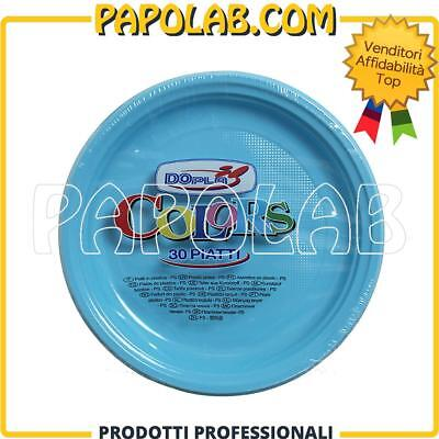 30 Piatti Di Plastica Colorati Dopla Colors Ø22 Azzurro Feste Party Apericena