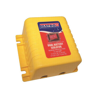 Matson Battery Isolator 12v 140 amp with Override Switch  Dual Battery VSR