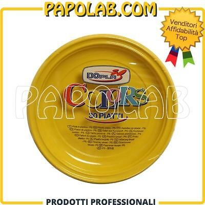 30 Piatti Di Plastica Colorati Dopla Colors Ø22 Giallo Feste Party Apericena