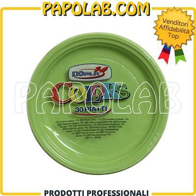 30 Piatti Plastica Colorati Dopla Colors Ø22 Verde Acido Feste Party Apericena
