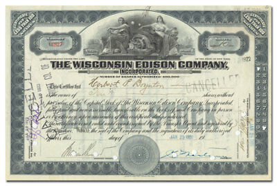 Wisconsin Edison Company, Incorporated Stock Certificate