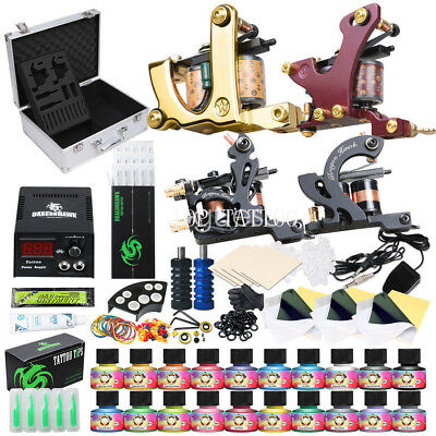 Tattoo Kit 4 Top Machine Gun 20 Color Ink Power Supply 50 Needles Complete Kit