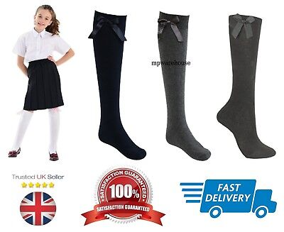 Girls School Socks Uniform Socks With Bow Ribbon. Knee High Ribbon Socks