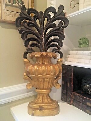 EARLY 19th Century Gilt Wood ITALIAN Baroque Urn Architectural Fragment LARGE