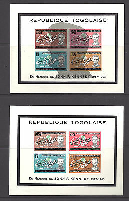 TOGO , KENNEDY, SET OF 2 SS's OVERPRINTED IMP/P , MNH