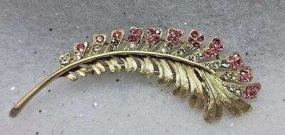 Vtg Antique Clear & Pink Rhinestones Gold Tone Feather Brooch