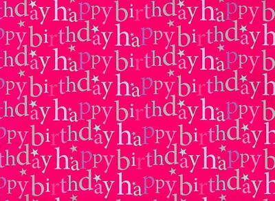2 Sheets Female Happy Birthday Wrapping Paper & Matching Gift Tag - Pink Stars