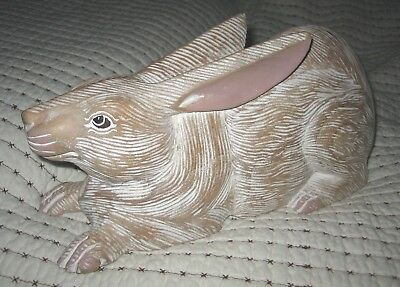Carved Wood Wooden Rabbit Folk Art White Wash Color Lying Down