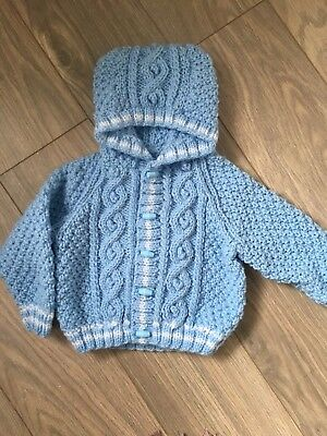 Hand knitted baby boys hooded Aran Jacket/cardigan 6-12 months blue/white