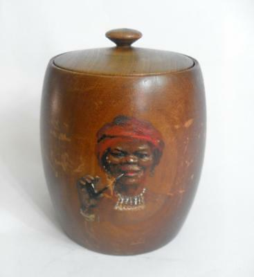Vintage tobacciana tobacco pot and stink wood cover by Kottler and Co 11695