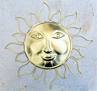 SUN FACE RED w/ Gold Distressed Rays Metal & Glass Wall Art Home ...