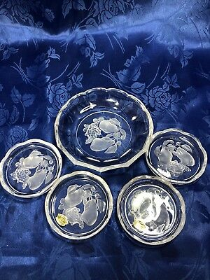 Val St. Lambert Intaglio Fruit Dish Candy / Nut Bowl and 4 Matching Chargers