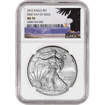2016 American Silver Eagle - NGC MS70 - First Day of Issue - Bald Eagle Label