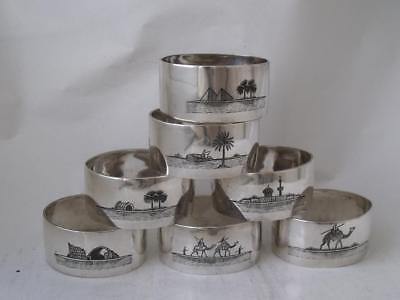 Set of 7 Egyptian Cairo Solid Silver & Niello Napkin Rings/ H 2.3 cm/ UNMARKED