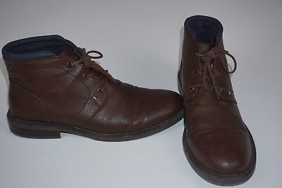 b03e2303cbe60 Tommy Hilfiger Men s Shoes Leather Ankle Boot Chukka Brown Size US 10.5
