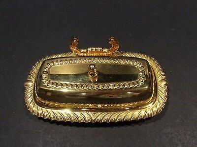 Irvinware GOLD BUTTER DISH  3 Piece Electroplated