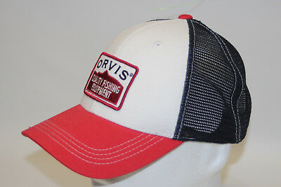 1ede602a4a266 Orvis Fly Fishing Americana Mesh Ball Cap with Snapback Red White and Blue  OSFA