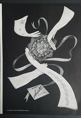 1947 women's  ARIS ARISETTE fabric gloves bouquet for spring graphic art ad