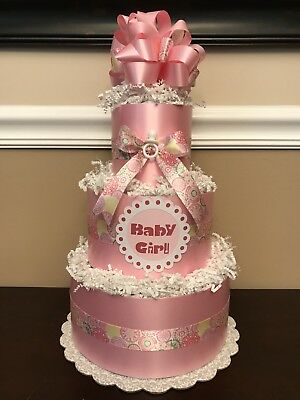 Diaper Cake Pink & White Baby Girl 3 Tier Baby Shower Centerpiece