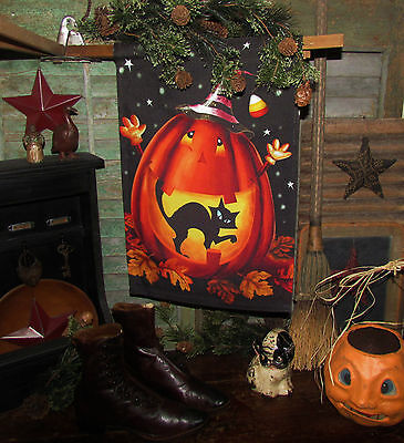 Primitive HALLOWEEN Jack Lantern Black Cat Star Yard Garden FOLK ART House FLAG