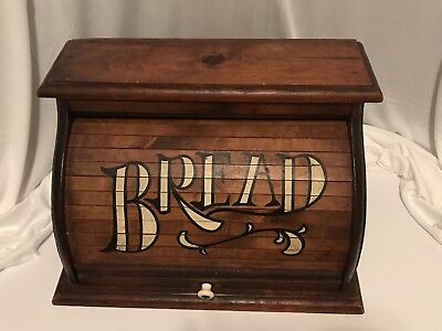 """Vintage Wood Bread Box Roll Top Rustic Farm Country Kitchen Home Decor 18"""""""