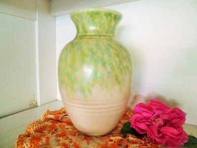 Art Deco Vase Crown Ducal Ware Green Blue Yellow Mottled Glaze England