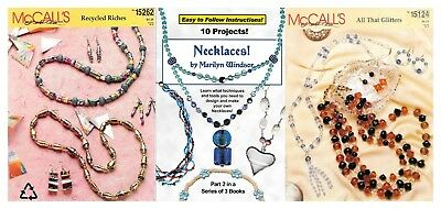 Jewellery making craft books x3 McCall's 124&262 necklaces earrings design&make