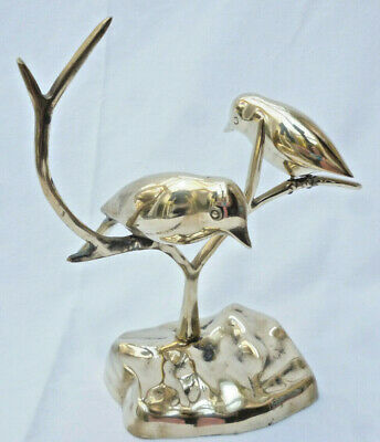 VINTAGE POLISHED BRASS BIRDS in TREE ORNAMENT - very good condition - 22cm high