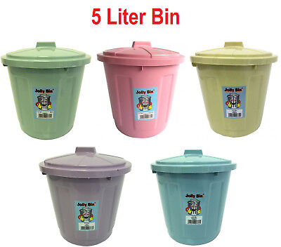 5 Litre Sturdy Plastic Waste Bin Spinning Lock Dustbin Rubbish Various Colours
