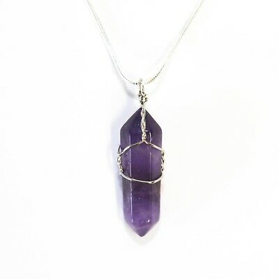 "Amethyst Crystal Point Pendant 30mm with 20"" Silver Necklace Meditation Calming"